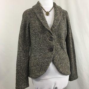 Cabi Grey & Tan Two Button Cardigan Sweater Size M